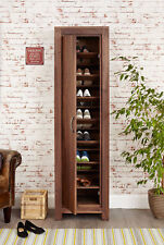 Mayan Solid Walnut Dark Wood Tall Narrow Shoe Storage Cupboard