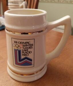Vintage 1980 XIII OLYMPIC WINTER GAMES Lake Placid Ceramic Stein Miracle On Ice