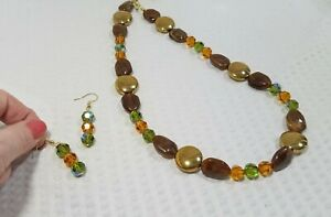 Olive and Amber Glass Crystal and Brass Bead Necklace and Earring Set