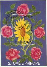 SAN TOME E PRINCIPE 1993 FLEURS-FLOWERS  bloc 1110 : roses et Tournesol 52m240T6