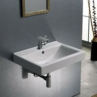 White Ceramic Wall-Mount/Self Rim Rectangle Bathroom Sink Single Hole ADA