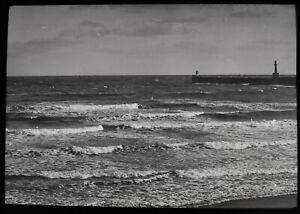 ANTIQUE Magic Lantern Slide ABERDEEN BEACH AFTER A STORM C1910 PHOTO SCOTLAND