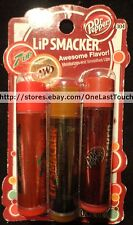 SMACKER*3pc Lip Balm/Gloss DR. PEPPER+CHERRY 7UP+A&W ROOT BEER Set/Lot SODA #304
