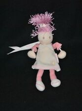 Peluche doudou poupée rose KALOO robe crème fleur bras en corde 18 cm NEUF