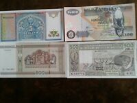 WORLD PAPER MONEY L'AFRIQUE 1984 500 Francs  + 3 world *BANK NOTES* Collectibles