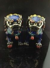 A pair Chinese antique cloisonne copper hand-carved lion statue g01