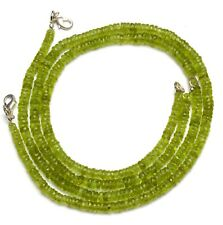 Natural Gem Peridot 4 to 5.5MM Size Faceted Heishi Rondelle Beads Necklace 17""