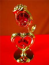 Rose/Heart 24-K Gold Plated And Austrian Crystal Heart And Rose Figurine Nib