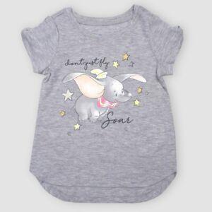 Toddler Girls' Disney Dumbo Short Sleeve T-Shirt - Gray (SIZE 2T).