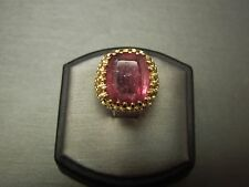 Vintage Estate C1970 14K Honeycomb 8.76ct Strawberry Tourmaline Rubellite Ring
