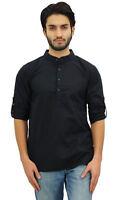 Atasi Men's Ethnic Short Kurta Black Mandarin Collar Cotton Tunic Shirt