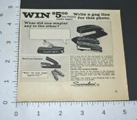 1968 Swingline Stapler Gag Line Photo Prize Joke Vintage Print Ad