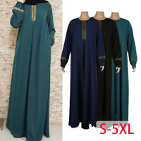 Women Kaftan Islamic Muslim Dress Maxi Arab Vintage Cocktail Jilbab Abaya Robe