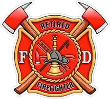 Retired FireFighter Shield window sticker decal Hardhat NHRA Rat Rod Street Rod