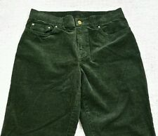 "Jones New York Signature Womens Loose Straight Dark Green Corduroy Jeans 8 x 31"""
