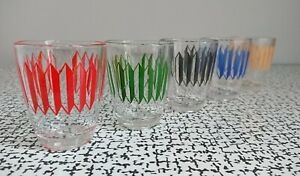50s 60s Retro Vintage Harlequin Abstract Coloured Shot Glasses Set Mid Century