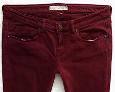 TOPSHOP Skinny slim BAXTER burgundy red Stretchy Jeans Size 12 S W30 L30