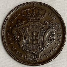 1901 Azores Portugal Administration 10 Reis Coin (L889)