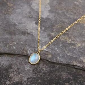 Dainty Moonstone 14k Gold Filled Pendant Necklace Gemstone Jewellery Gift