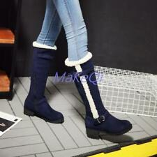 Womens Buckle Shoes Cuban Heels Faux Suede Zip Knee HighFashion Boots Plus Size
