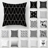 Black & White Geometric Cushion Cover Pillow Case Sofa Waist Throw Home Decor