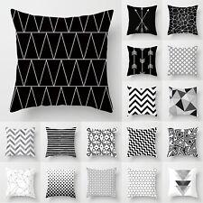 Geometrisch 45x45 Kissenhülle Dekokissen Kissenbezug Kissen Hülle Weiß Schwarz