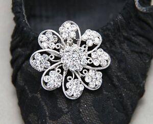 2 Pieces Star Flower Wedding Bridal Diamante Crystal Sparkle Shoe Clips Pair