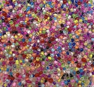 50g glass seed beads, Transparent with Mixed Colours Inside, approx 3mm, 8/0