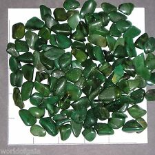 "BUDDSTONE xs-sm tumbled, 1/2 lb bulk stones, green So Africa 5/8-7/8"" long"