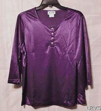 Womens Plum 4 Button Blair 3/4 Sleeve Knit Satin Henley Top Size Med  *