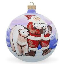 Santa, Polar Bear Animal Glass Ball Christmas Ornament 4 Inches