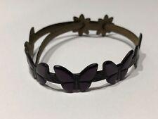 JUS - Pulsera de Piel con Mariposas en Lila - Purple Butterfly Leather Bracelet