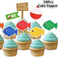 10Pcs/lot Cartoon Fish Cupcake Topper Gone Fishing Cake Picks Flag Decoration