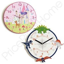 ARTHOUSE WALL CLOCKS CHILDRENS DINO DOODLE DINOSAUR & FAIRIES PRINCESS FREE P+P