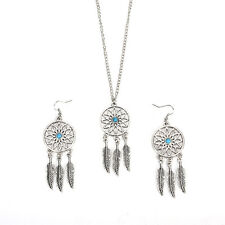 Bohemian Dreamcatcher Leaves Feather Pendant Necklace Earrings Jewelry Set XB