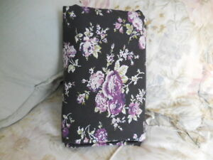 Pottery Barn PURPLE Roses ON BLACK Floral TWIN DUVET cover COTTAGE CHIC organic