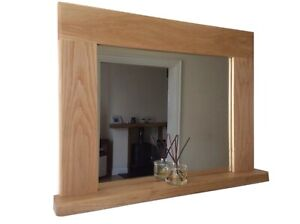*Beautiful Quality Handmade Solid Oak Wooden Mirror With Shelf*