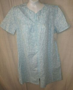 CROFT & BARROW~SMALL~Teal Floral Seersucker Full Zip Classic Duster Robe