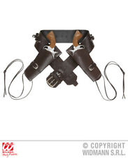 Brown Double Holster Belt Cowboy Wild West Fancy Dress Accessory