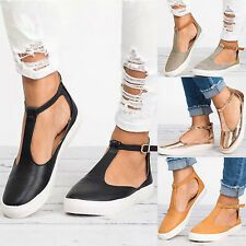 UK Womens Summer T-Strap Pumps Flat Sandals Ankle Buckle Casual Beach Shoes Size
