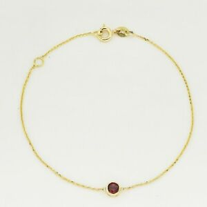 January Birthstone with Natural Gemstone Garnet 9K Solid Gold Bracelet(In-Stock)