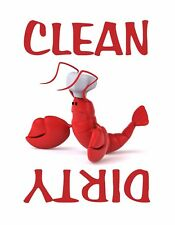METAL DISHWASHER MAGNET Red Lobster Clean Dirty Dishes Food White Background
