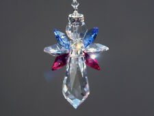 Red, White and Blue Angel Crystal Suncatcher with Swarovski Crystals and Prism