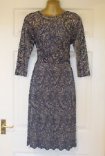 NEW - Ladies Blue Patterned Knee Length Lace Style Evening Dress - Size 12