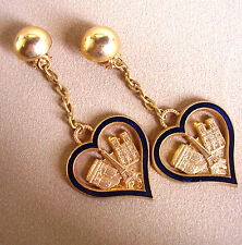 "2267 /  ""I LOVE PARIS"" BOUCLES D'OREILLE CLIPS / METAL DORE EMAILLE"
