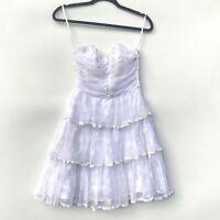Betsey Johnson Tiered Ruffle Tea Party Dress Vintage Polka Dot Sweetheart Size 2
