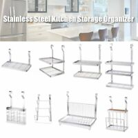 Stainless Steel Organizer Wall Hanging Dish Rack Storage Drying Holder Kitchen