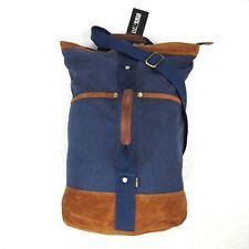 NEW BEFAiR Canvas Rucksack Travel Backpack Duffel Bag Shoulder Sling Blue Brown