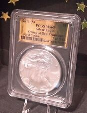 2012 (S) Gold Foil Label Silver Eagle FIRST STRIKE PCGS MS69 1 of 2012 pop 258!
