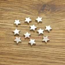 50 Star Beads Spacers Charms Centered Hole Beads 2 Sided Antique Silver 10x9x3